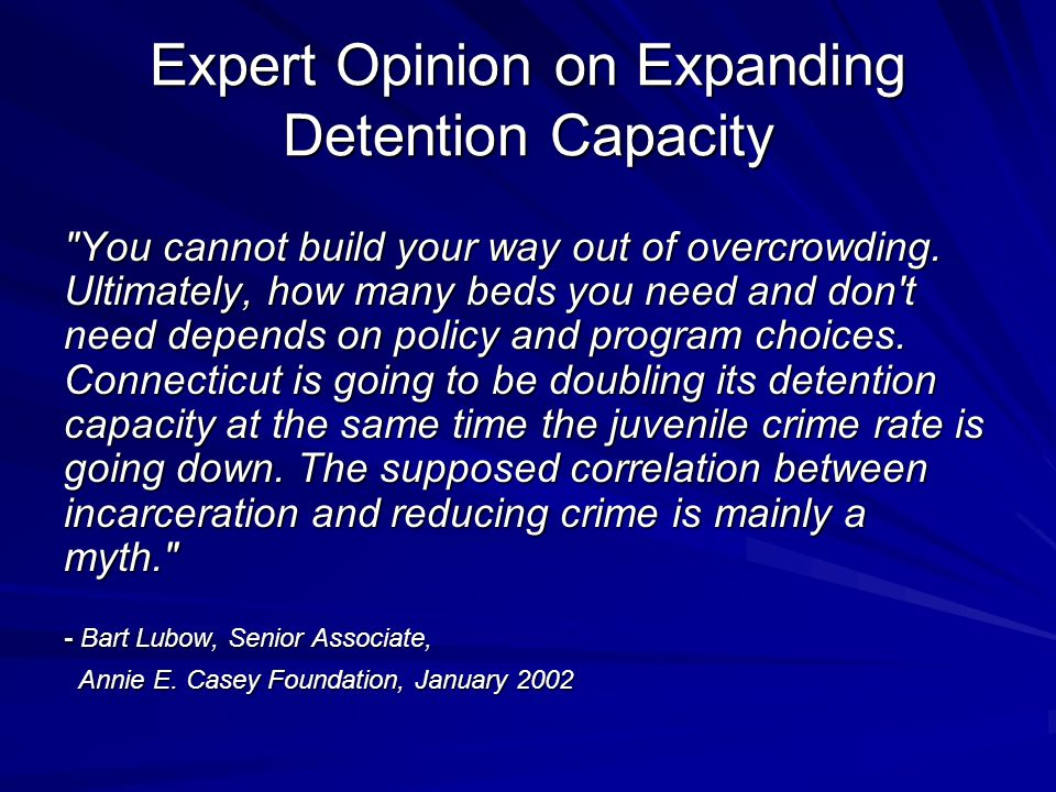 Expert Opinion on Expanding Detention Capacity