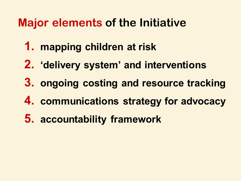 Major elements of the Initiative