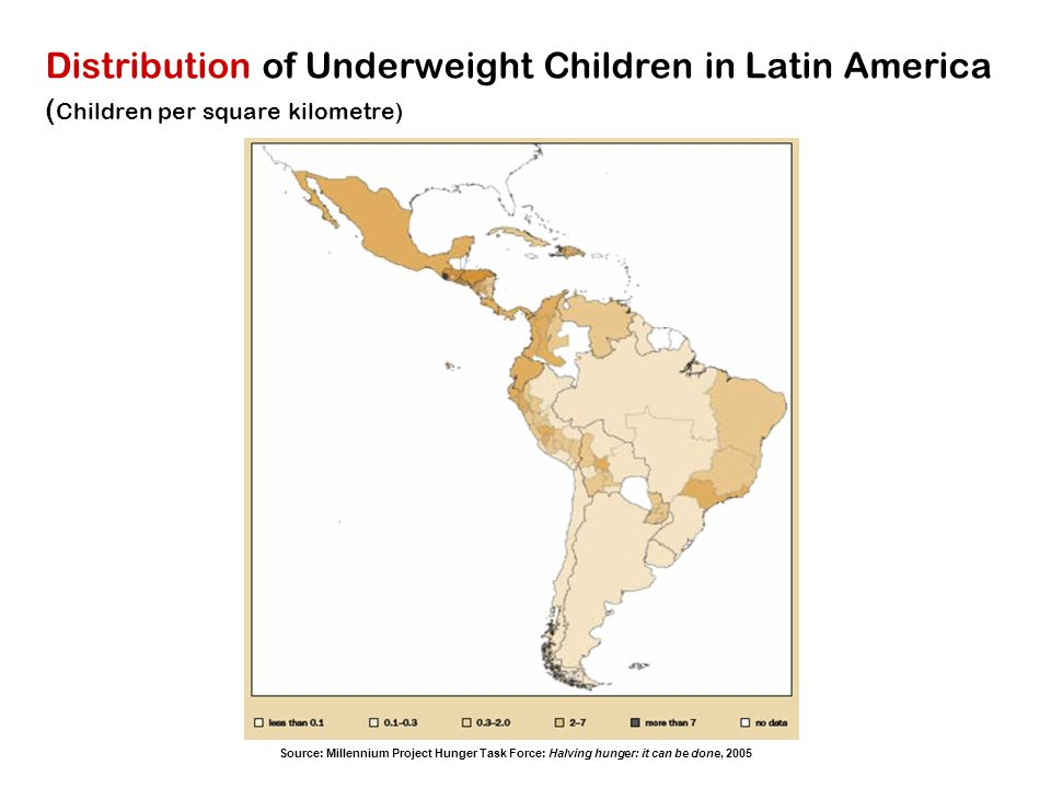 Distribution of Underweight Children in Latin America (Children per square kilometre)