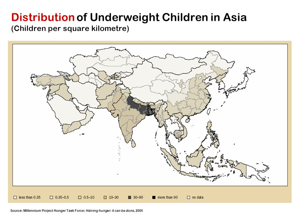 Distribution of Underweight Children in Asia (Children per square kilometre)