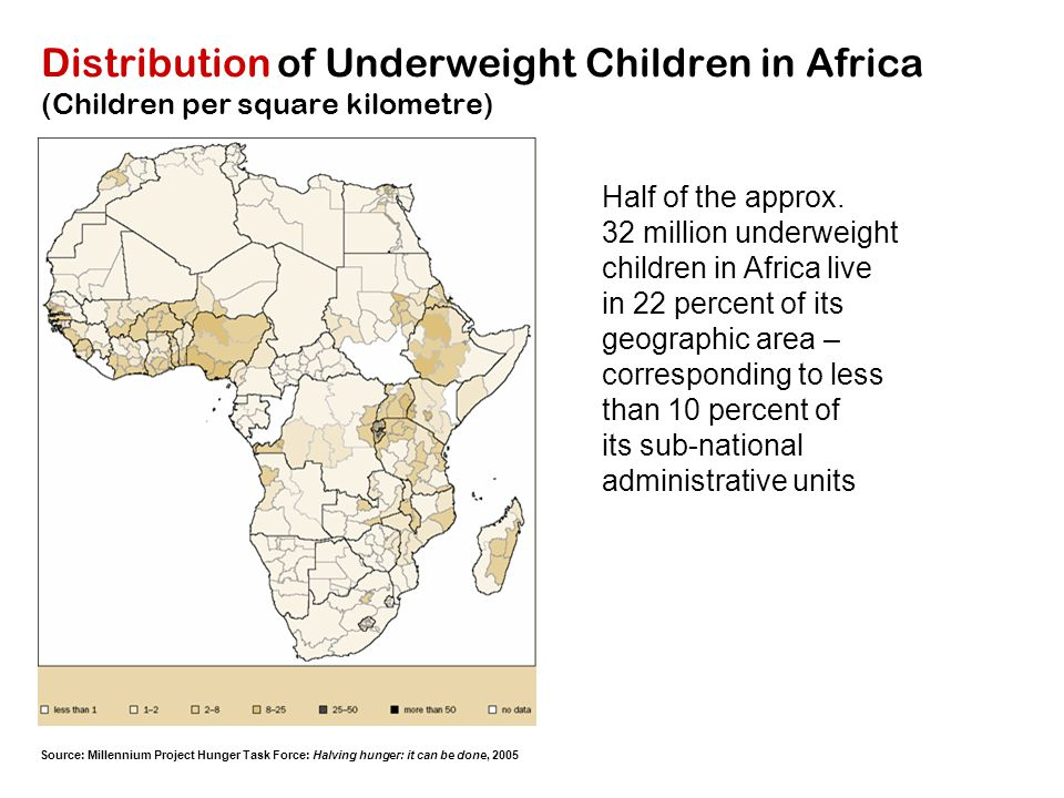 Distribution of Underweight Children in Africa (Children per square kilometre)