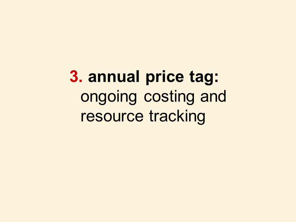 annual price tag: ongoing costing and resource tracking