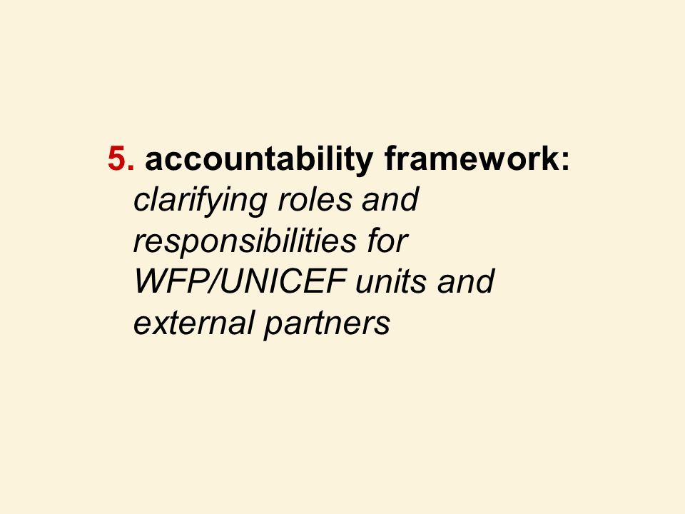 accountability framework: clarifying roles and responsibilities for WFP/UNICEF units and external partners