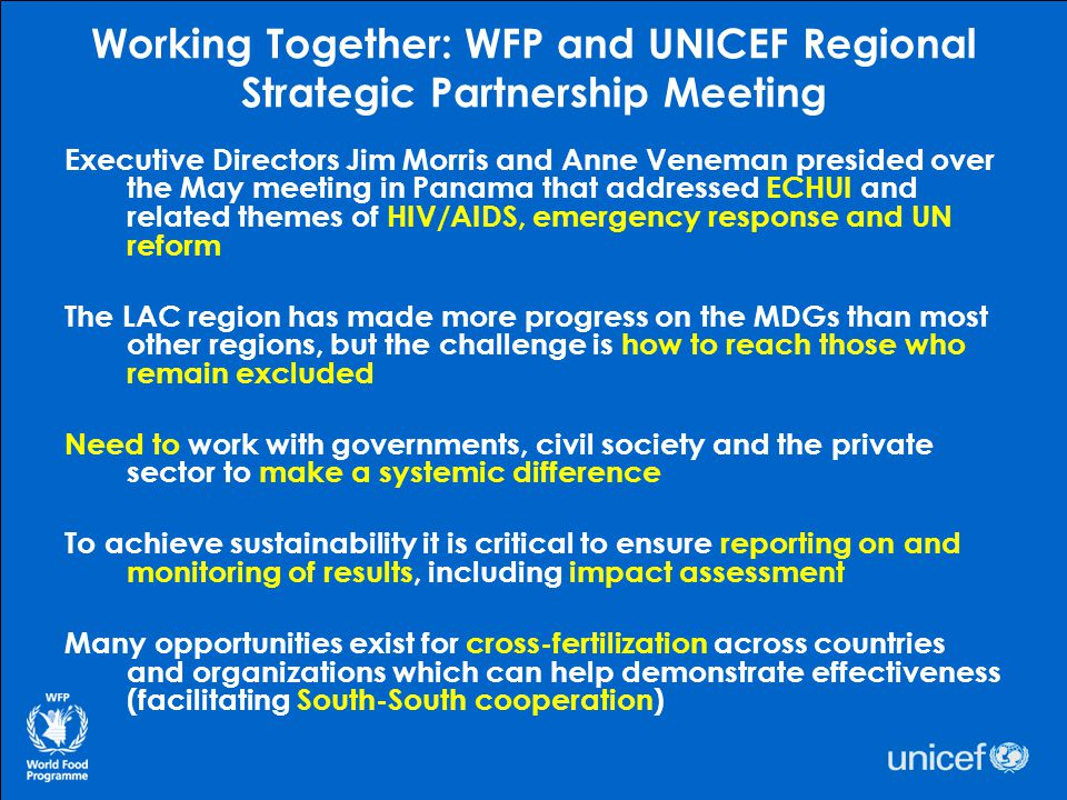 Working Together: WFP and UNICEF Regional Strategic Partnership Meeting