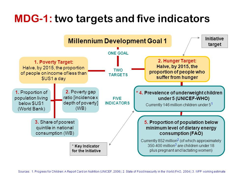 MDG-1: two targets and five indicators