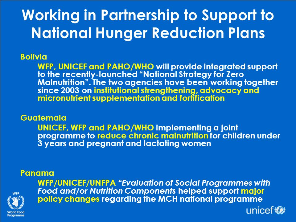 Working in Partnership to Support to National Hunger Reduction Plans