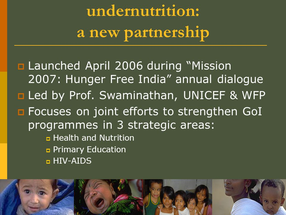 1.1 Ending child hunger and undernutrition: a new partnership
