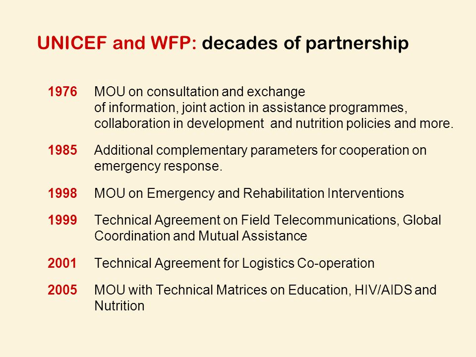 UNICEF and WFP: decades of partnership
