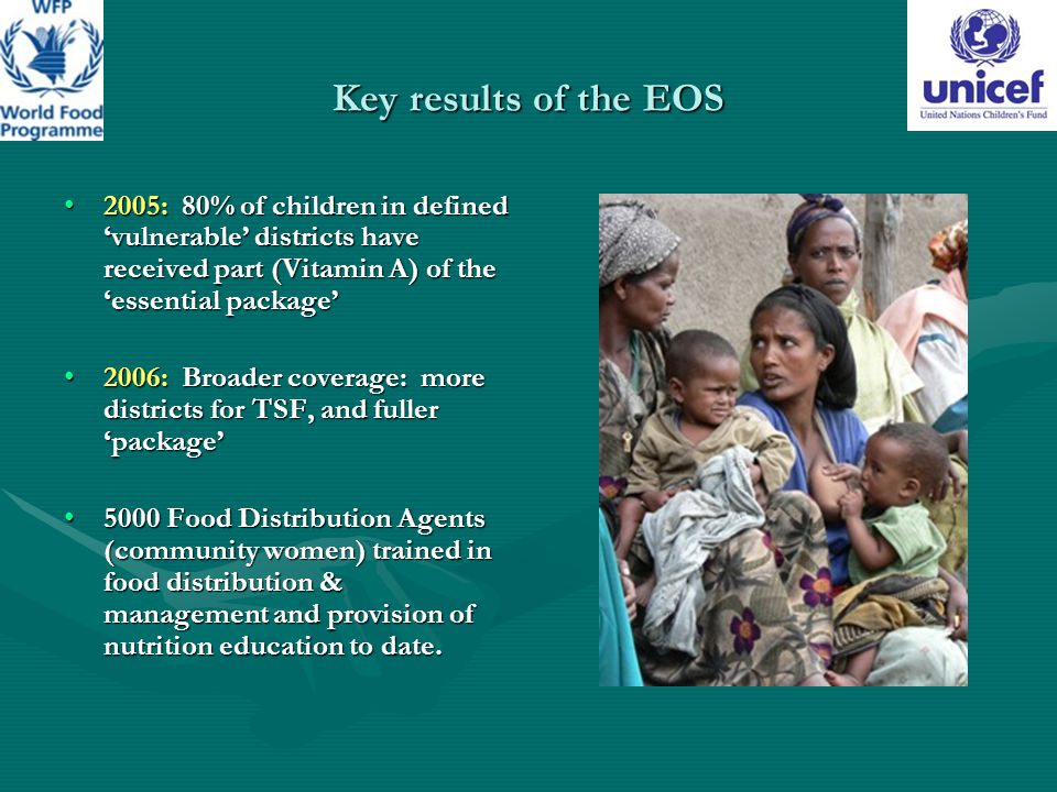 Key results of the EOS 2005: 80% of children in defined 'vulnerable' districts have received part (Vitamin A) of the 'essential package'