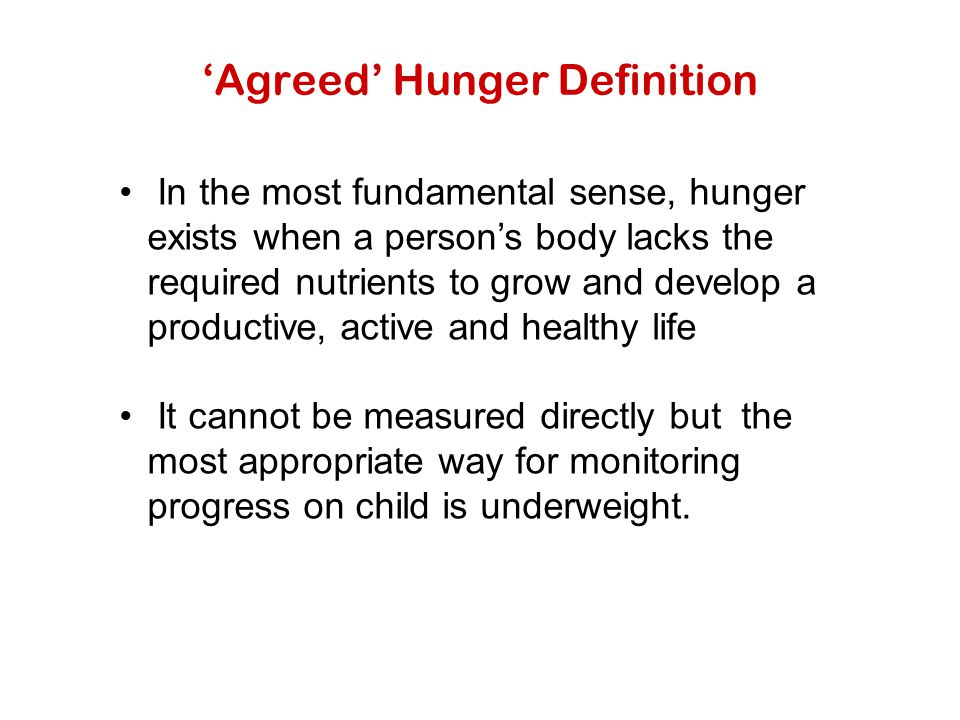'Agreed' Hunger Definition