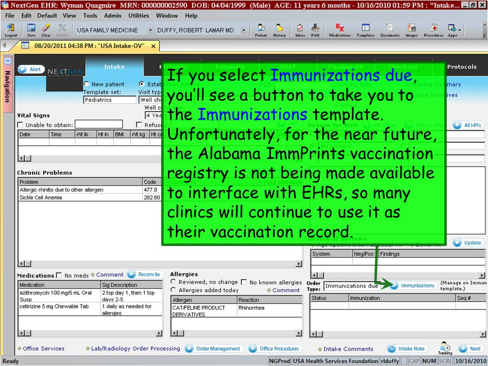 If you select Immunizations due, you'll see a button to take you to the Immunizations template.