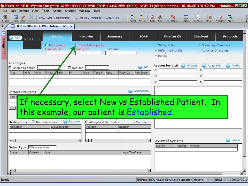 If necessary, select New vs Established Patient