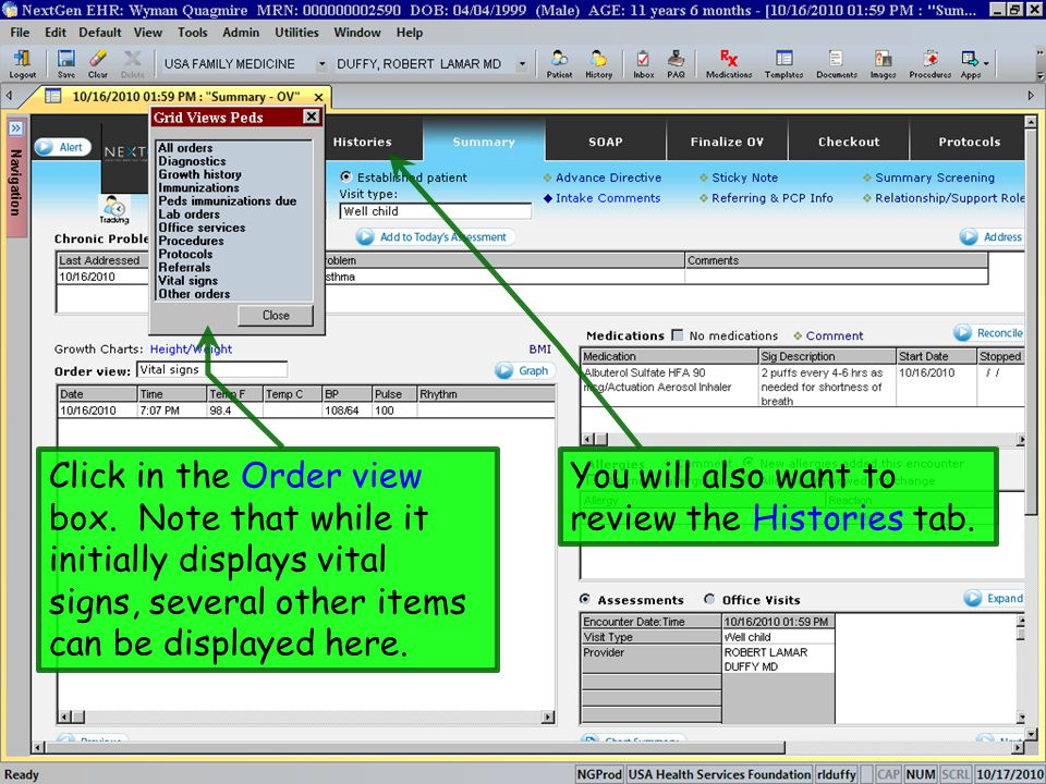Click in the Order view box