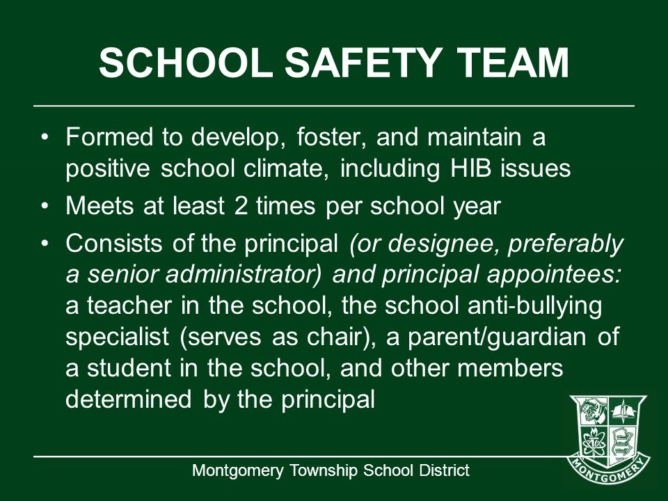 SCHOOL SAFETY TEAM Formed to develop, foster, and maintain a positive school climate, including HIB issues.