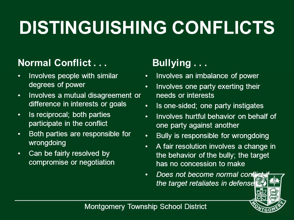 DISTINGUISHING CONFLICTS
