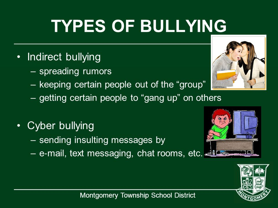 TYPES OF BULLYING Indirect bullying Cyber bullying spreading rumors