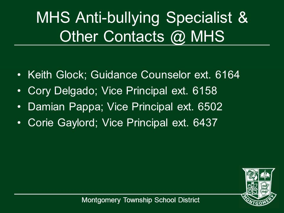 MHS Anti-bullying Specialist & Other Contacts @ MHS