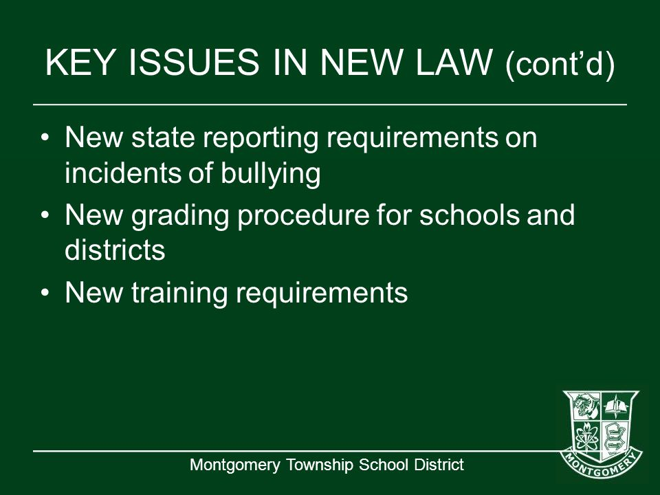 KEY ISSUES IN NEW LAW (cont'd)