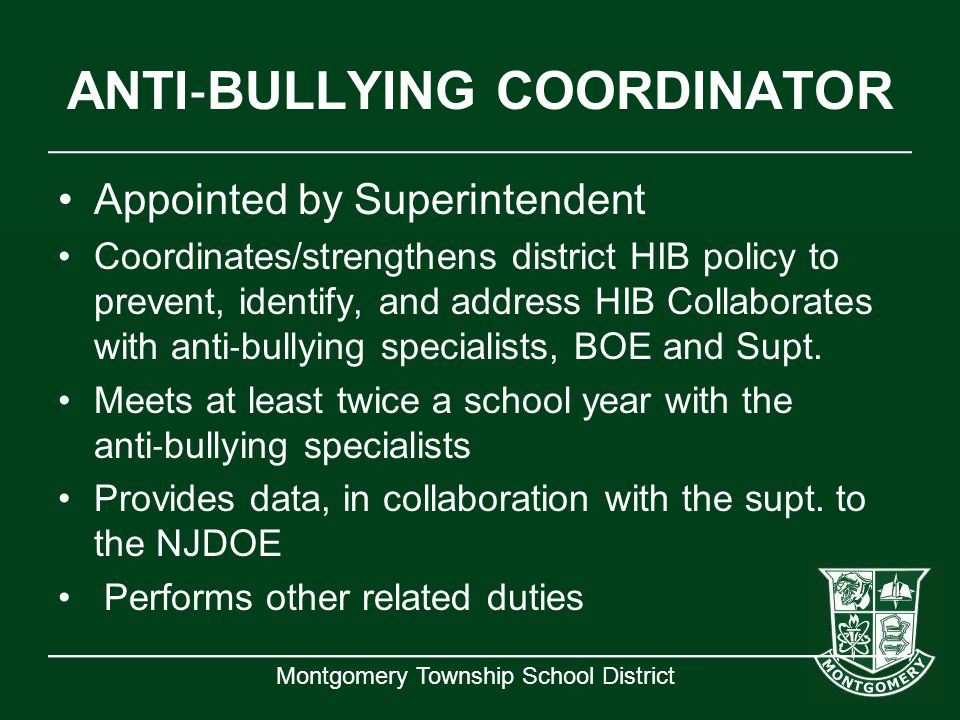 ANTI‐BULLYING COORDINATOR
