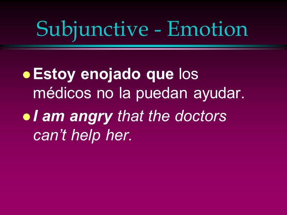 Subjunctive - Emotion Estoy enojado que los médicos no la puedan ayudar.