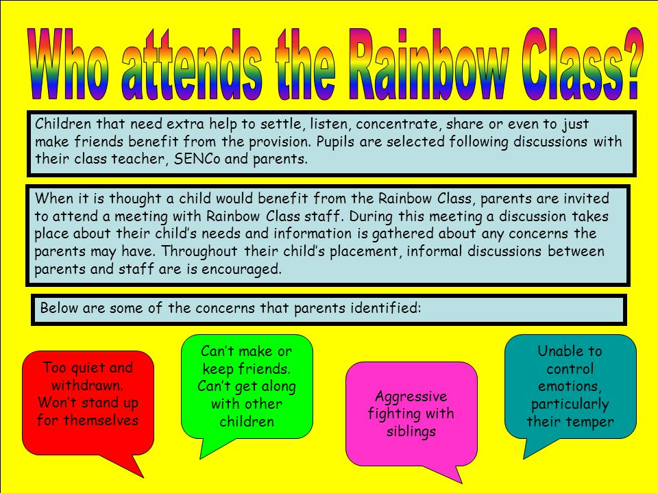 Who attends the Rainbow Class