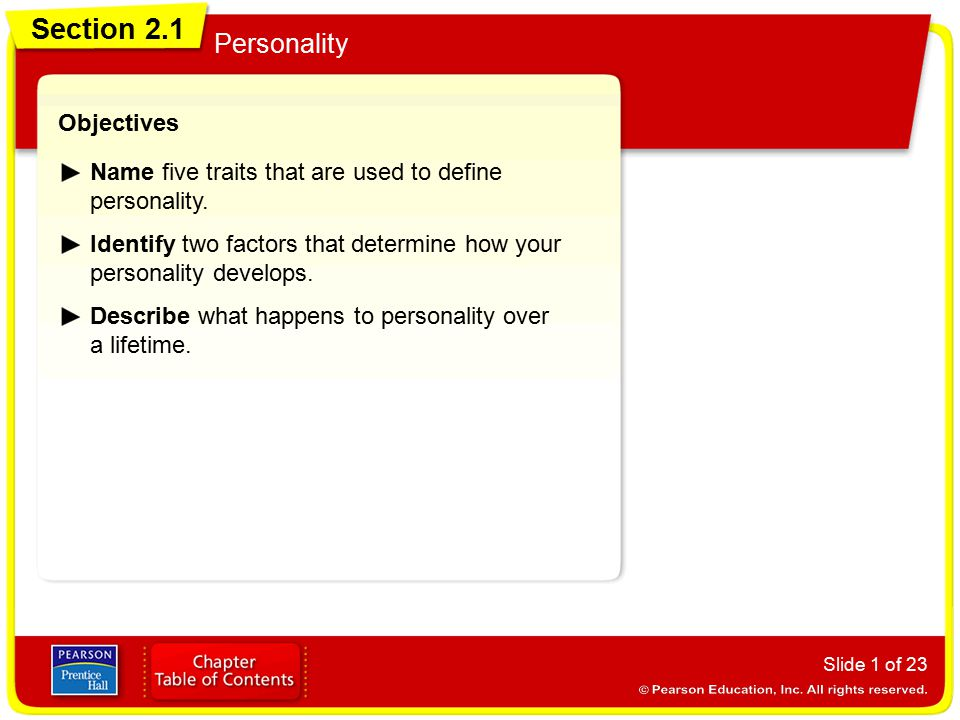 Section 2.1 Personality Objectives