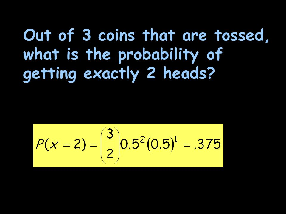 Out of 3 coins that are tossed, what is the probability of getting exactly 2 heads