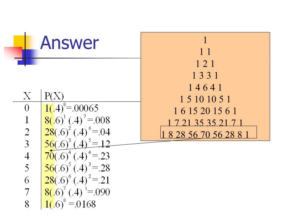 Answer 1. 1 1. 1 2 1. 1 3 3 1. 1 4 6 4 1. 1 5 10 10 5 1. 1 6 15 20 15 6 1. 1 7 21 35 35 21 7 1.