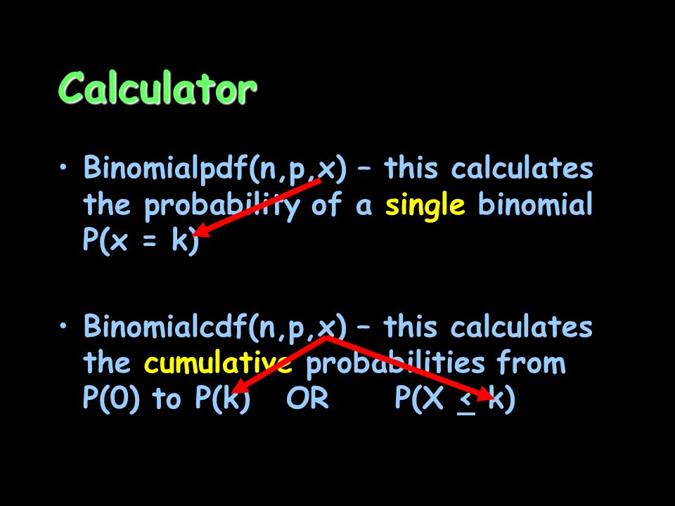 Calculator Binomialpdf(n,p,x) – this calculates the probability of a single binomial P(x = k)