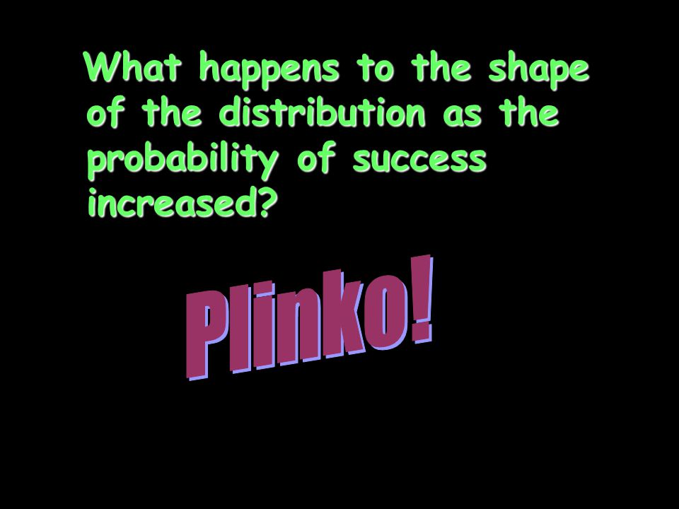 What happens to the shape of the distribution as the probability of success increased