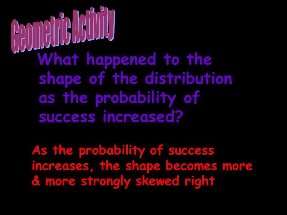 Geometric Activity What happened to the shape of the distribution as the probability of success increased