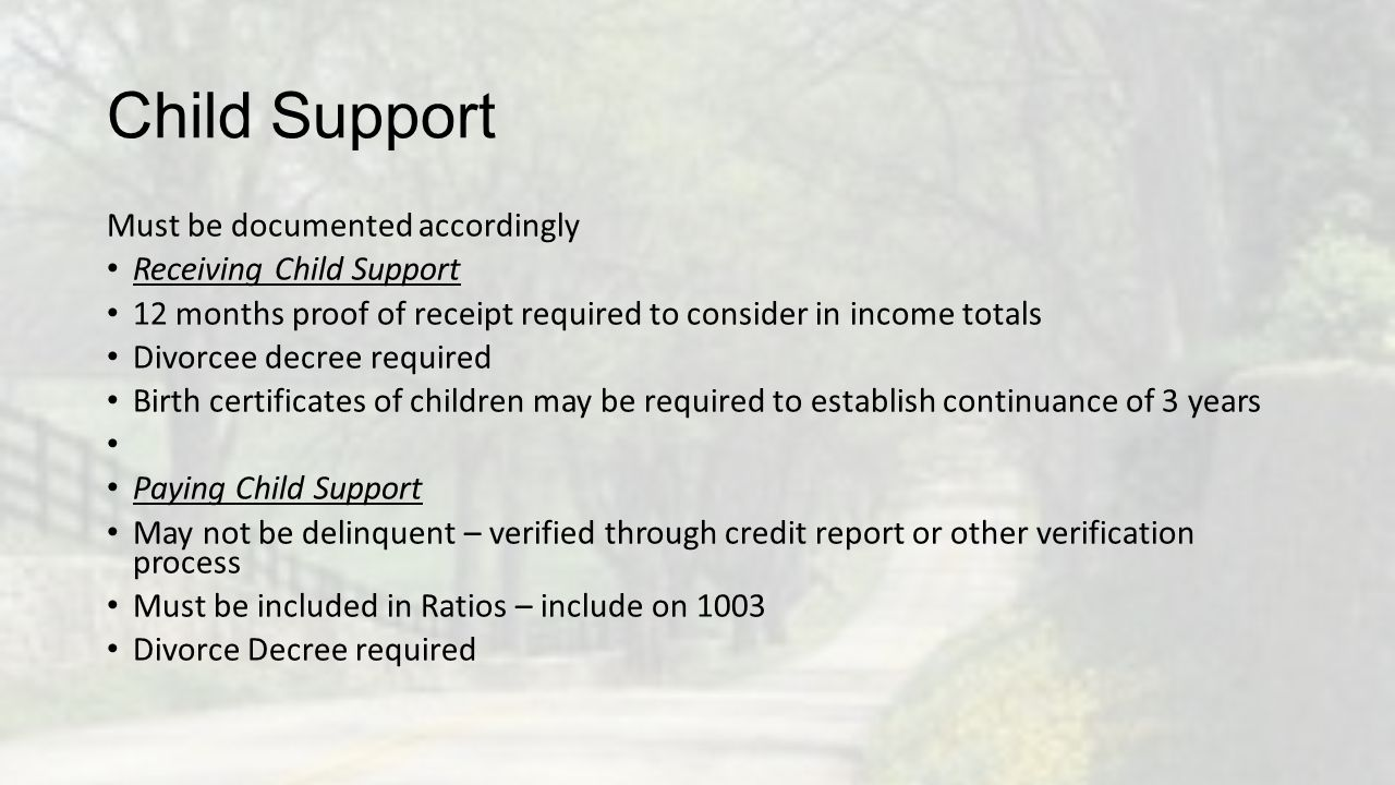 Child Support Must be documented accordingly Receiving Child Support