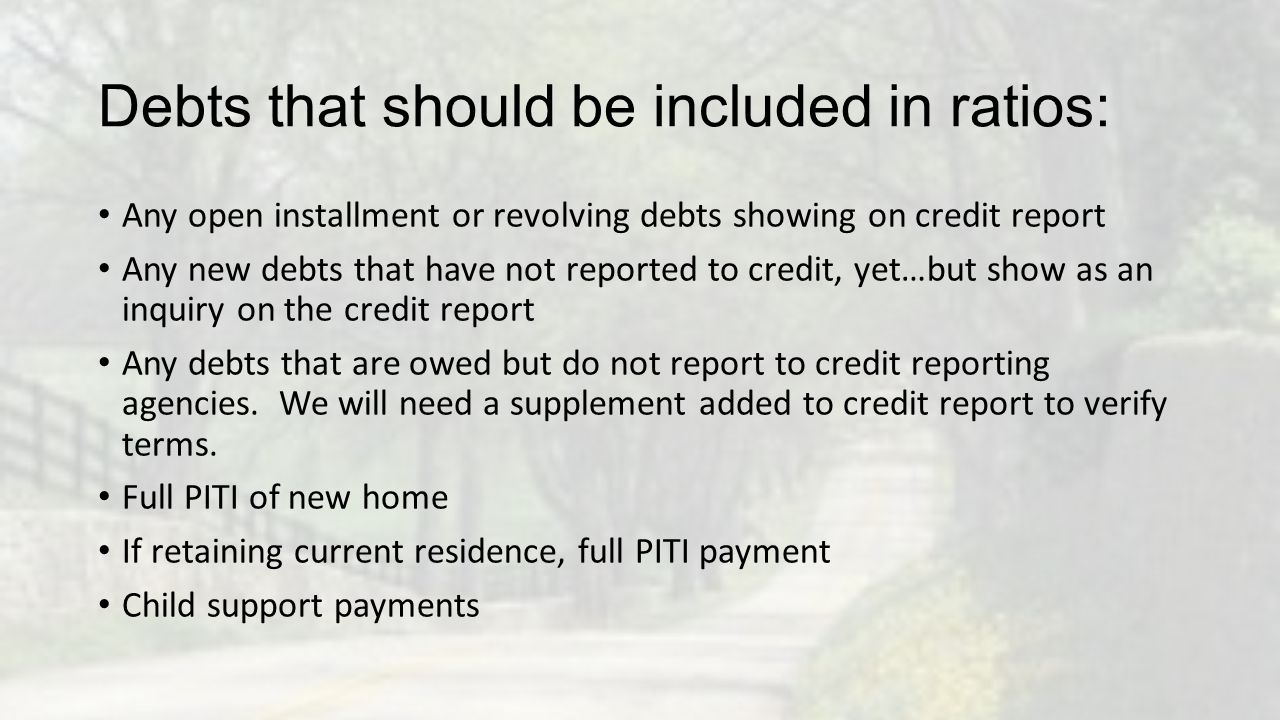 Debts that should be included in ratios: