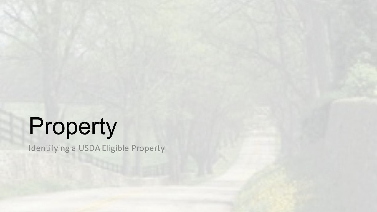 Property Identifying a USDA Eligible Property