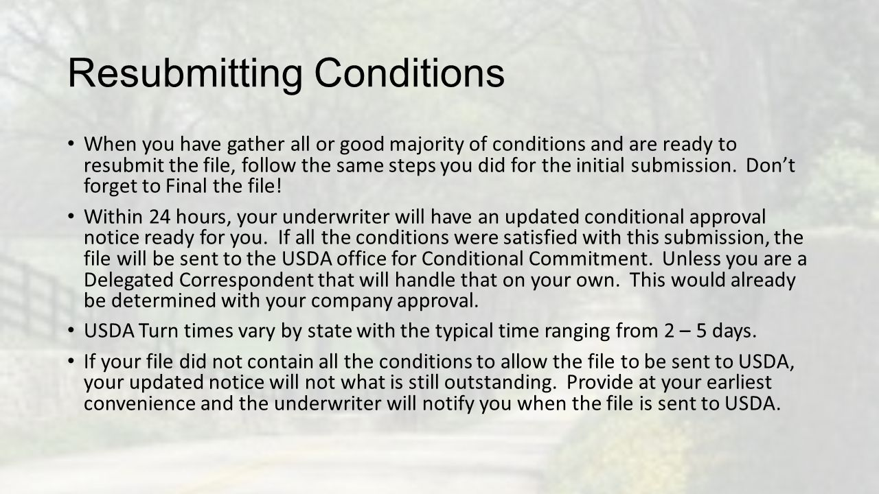 Resubmitting Conditions