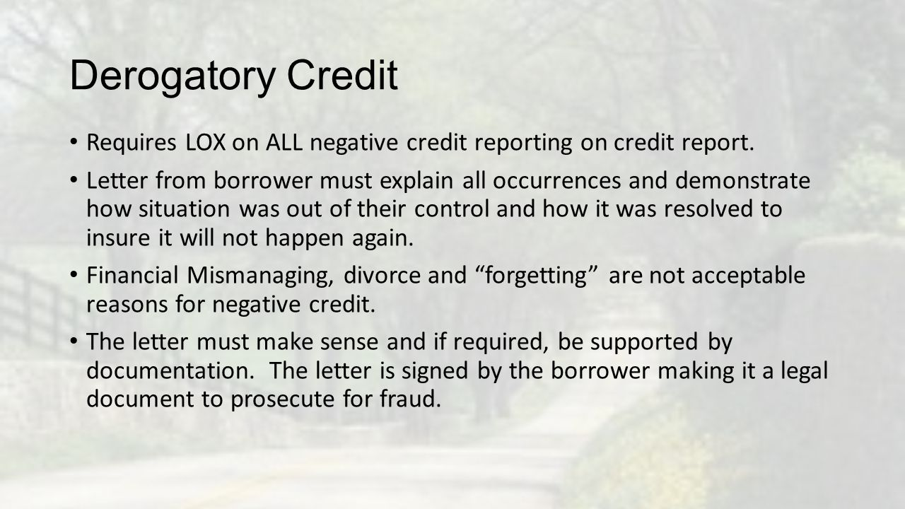 Derogatory Credit Requires LOX on ALL negative credit reporting on credit report.