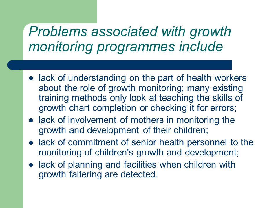 Problems associated with growth monitoring programmes include