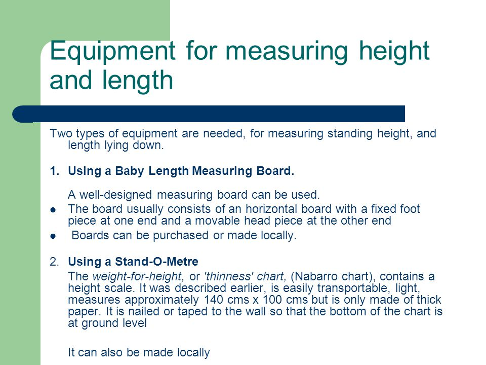 Equipment for measuring height and length
