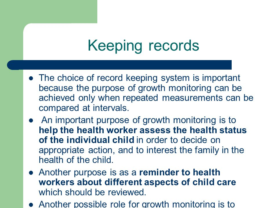 Keeping records