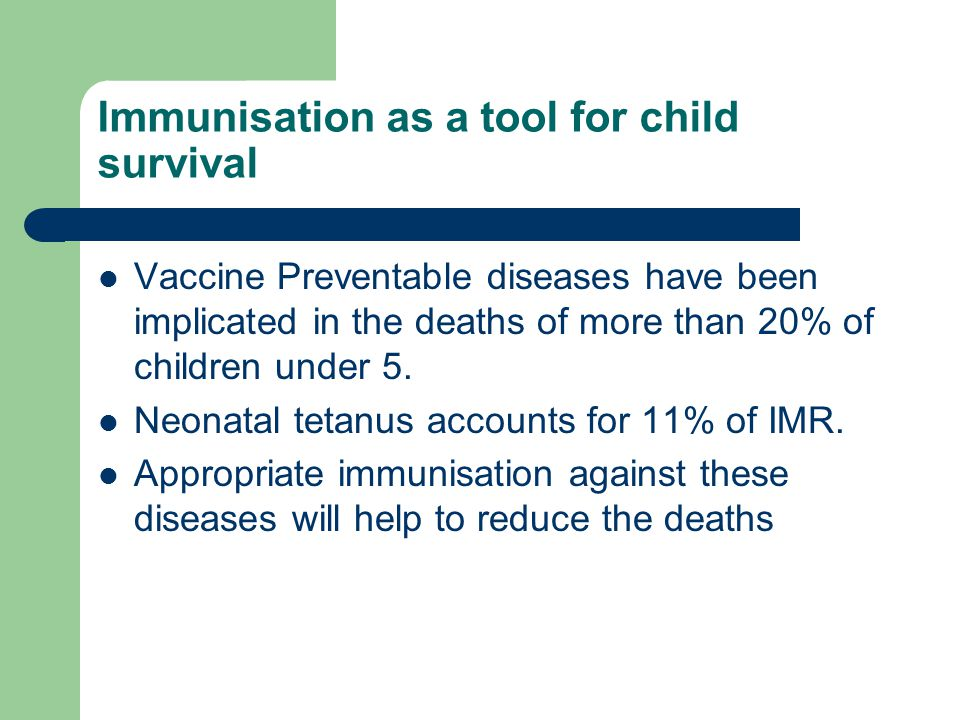 Immunisation as a tool for child survival