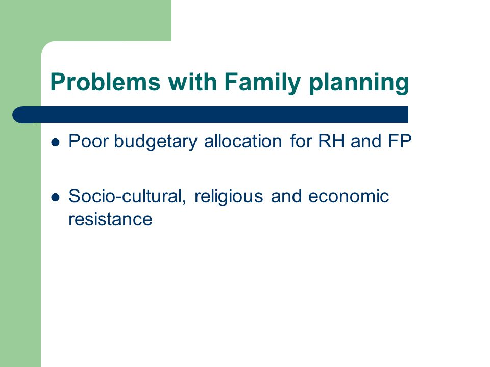 Problems with Family planning