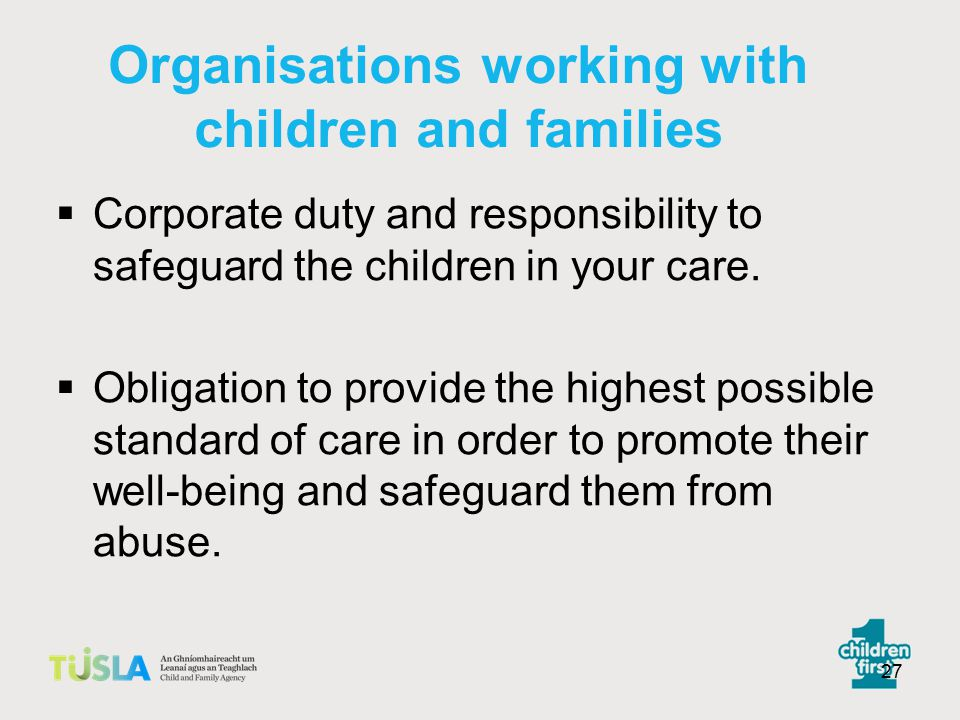 Organisations working with children and families