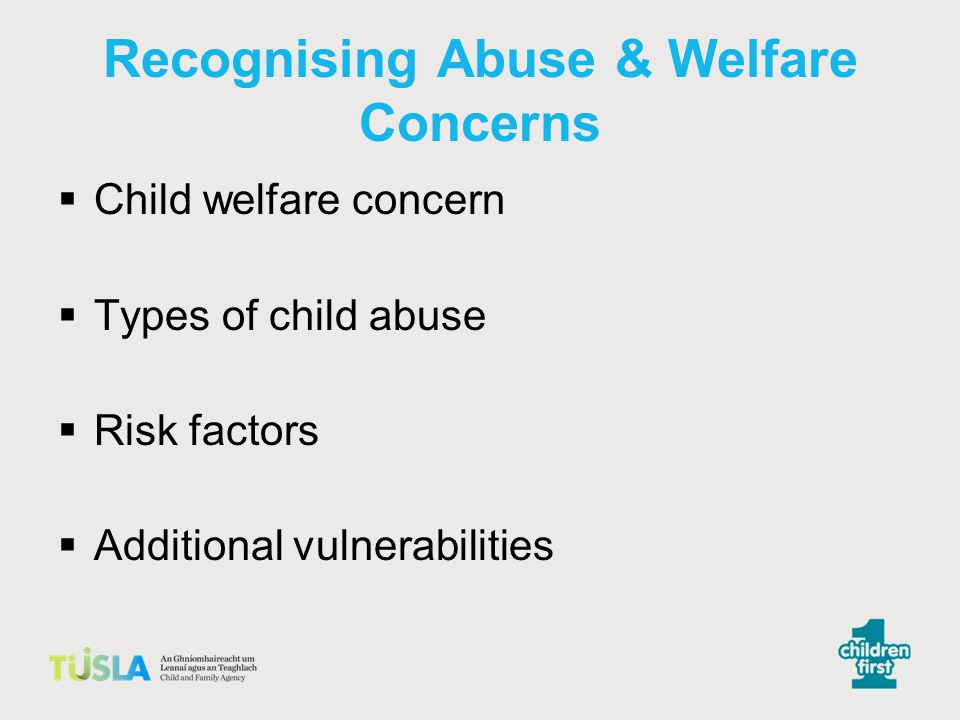 Recognising Abuse & Welfare Concerns