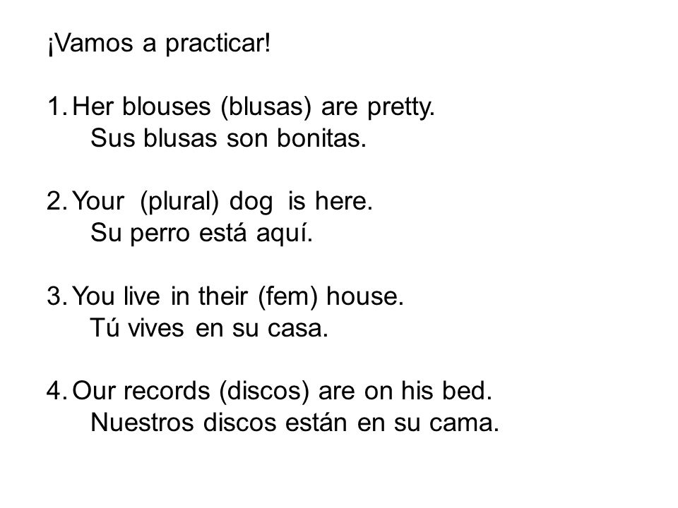 ¡Vamos a practicar! Her blouses (blusas) are pretty. Sus blusas son bonitas. Your (plural) dog is here.