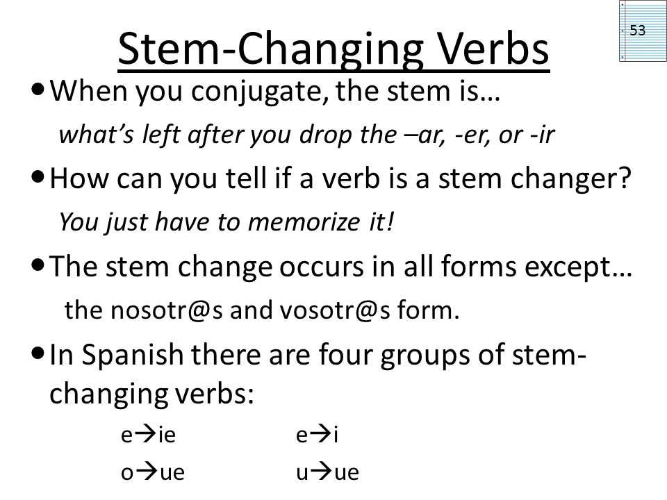 Stem-Changing Verbs When you conjugate, the stem is…