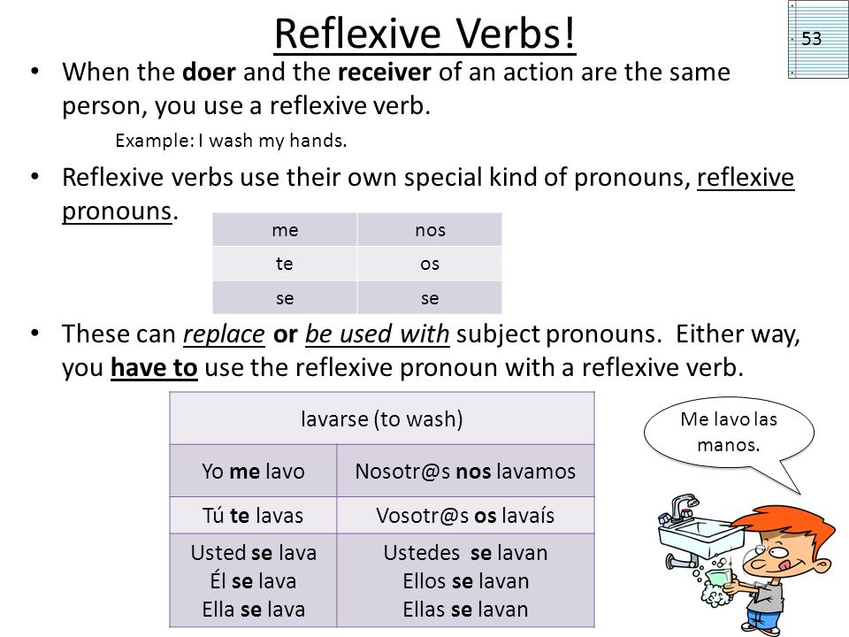 Reflexive Verbs! 53. When the doer and the receiver of an action are the same person, you use a reflexive verb.