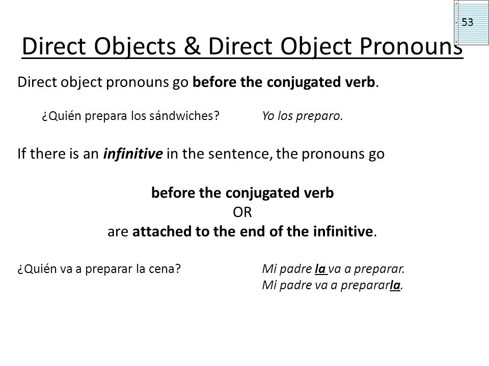 Direct Objects & Direct Object Pronouns