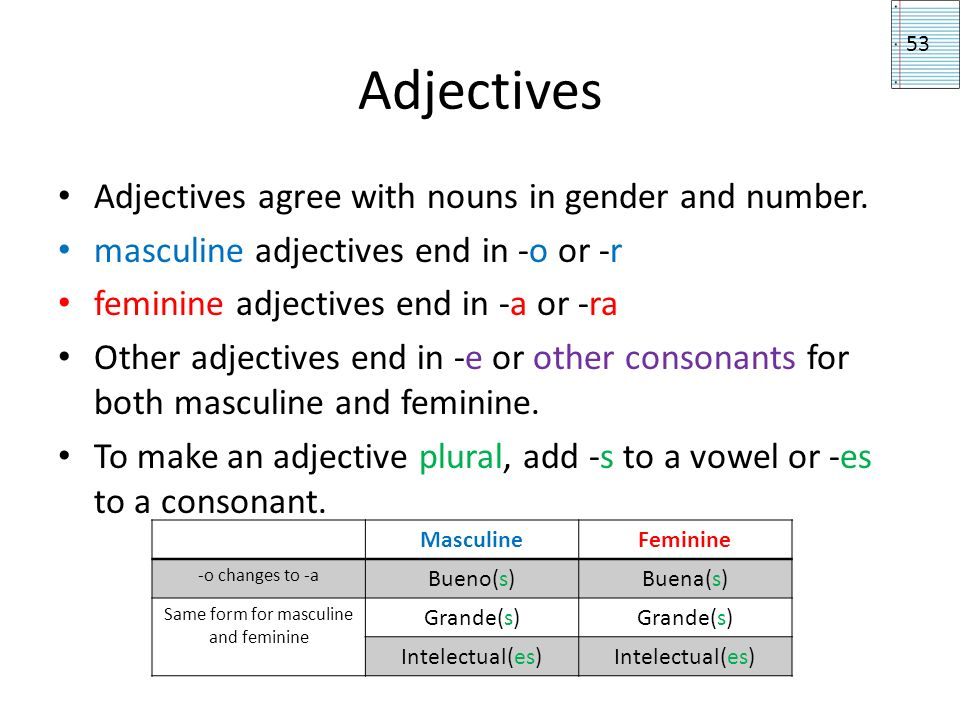 Same form for masculine and feminine