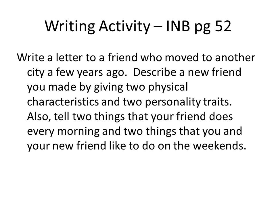 Writing Activity – INB pg 52