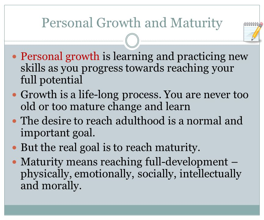 Personal Growth and Maturity